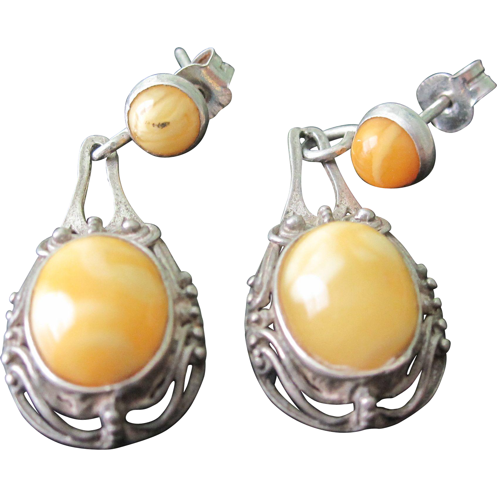 Vintage Sterling Silver Dangle Quot Amber Quot Earrings From