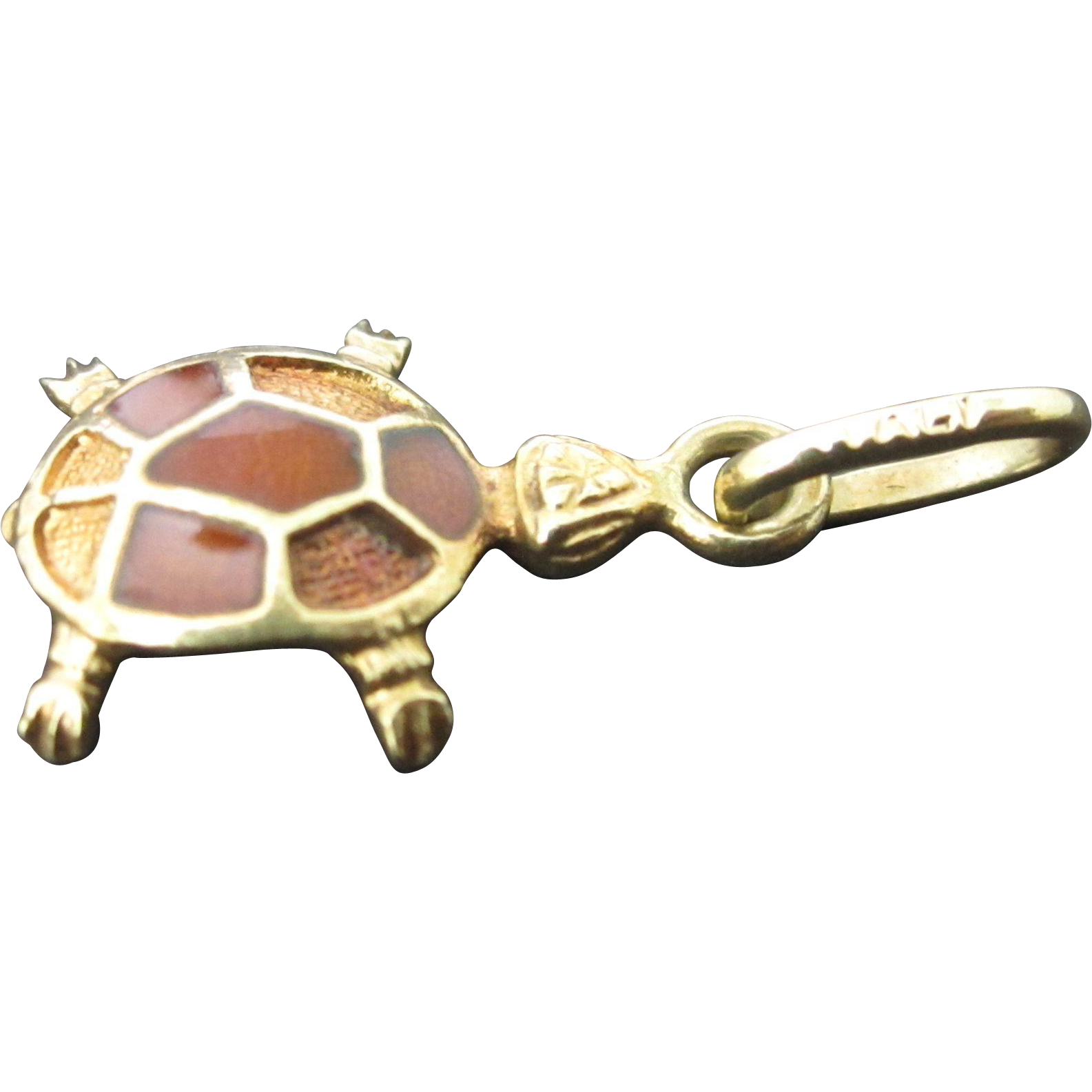 14k yellow gold enameled turtle charm pendant from