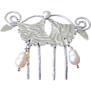 Estate Vintage Sterling Silver Cultured Pearl Hair Ornament