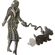 Vintage Sterling Silver Marcasite Lady With Scottish Terrier Dog Brooch