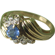 Vintage 14K YG Natural Sapphire And Diamond Ring