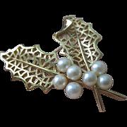 Vintage Trifari Faux Pearl Brooch Brooch