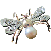 European Bug Brooch 18K Rose Gold Platinum Diamonds Rubies Cultured Pearl