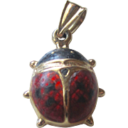 Vintage 14K YG Adorable Beetle Bug With Enamel Pendant