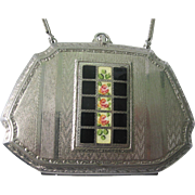 Beautiful Necessaire Dance Compact With Enamel Pink Flowers and Green Leaves Cartouche