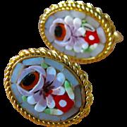 Vintage Italian Micro Mosaic Oval Screw Back Earrings