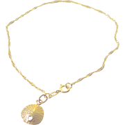 Estate 14K Y.G. Bracelet with 14K Y.G. Sand Dollar Charm