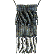 Vintage Necklace Beaded Purse With Faceted Crystal Beads 70's Era