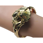 Beautiful Victorian Two Tone Gold Filled Bangle Bracelet