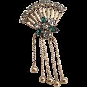 Vintage Gold-Filled Rhinestone Fan With Beaded Tassel Brooch