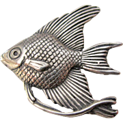 Vintage Sterling Silver Articulated Fish Pendant