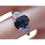 HUGE Anniversary Sale Special! Stunning Estate Platinum Oval 1.91ct. Natural Sapphire With .42tcw Diamond Ring
