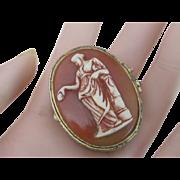 Vintage Greek Goddess Oval Pillbox