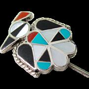 Vintage Sterling Silver Zuni Thunderbird Inlay Stick Pin/Hat Pin