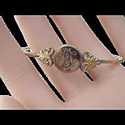 Victorian Engraved Gold Filled Signet Bangle Bracelet