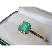 Estate Platinum, 14K White Gold, 1.06ct. Natural Green Emerald Expandable Ring