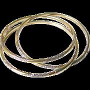 Vintage 14K Gold Filled Over Sterling Silver Roller Bangle Bracelets