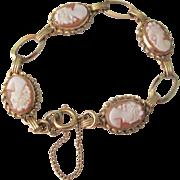 Vintage Gold Filled Cameo Link Bracelet