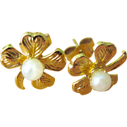 Vintage 14K Gold Filled Cultured Pearl Four Leaf Clover Earrings