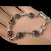 Vintage Sterling Silver Garnet Link Bracelet