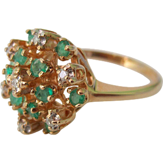 Vintage 14K Y.G. Emerald Diamond Cocktail Ring Early 60's Era