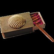 Vintage Gold Florentine Seashell Match Box With Original Matchsticks Mid 60's