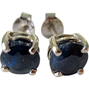 Estate Vintage Sterling Silver Natural 3.70tcw Round Blue Sapphires Stud Earrings