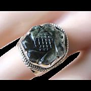 Vintage Sterling Silver Tourmaline Unisex Ring 70's Era