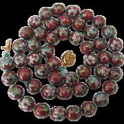 Gorgeous Vintage Cloisonné Enamel Bead 24' Necklace