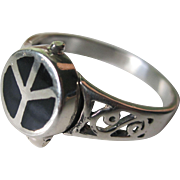 Vintage Sterling Silver Peace Poison Ring 70's Era