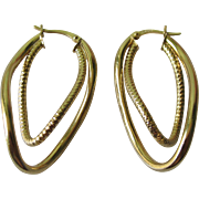 Vintage Sterling Silver Gold Overlay Oblong Double Abstract Earrings