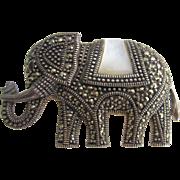 Stunning Vintage Sterling Silver Marcasite MOP Garnet Elephant Pendant Brooch