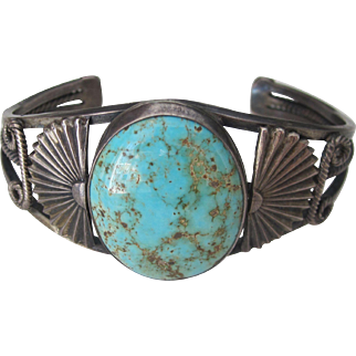 Vintage Native American Sterling Silver Turquoise Bangle Cuff Bracelet