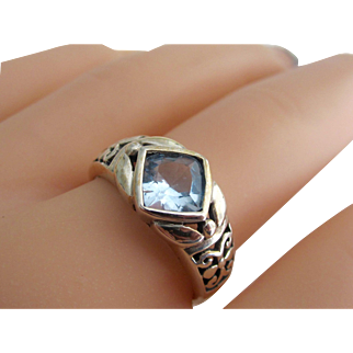 Vintage Sterling Silver Natural Faceted Cushion Cut Topaz Ring