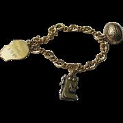 Vintage Gold Filled Link Bracelet With 3 Gold-Filled Charms  Mid 60's Era