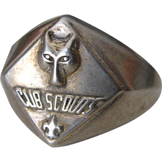 Authentic European Vintage Sterling Silver Cub Scout Boys Ring