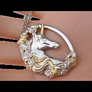 Gorgeous Vintage Sterling Silver Oval Unicorn Pendant
