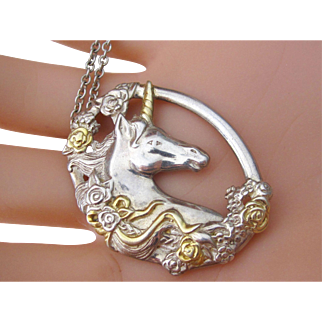 Gorgeous Vintage Sterling Silver Oval Unicorn Pendant