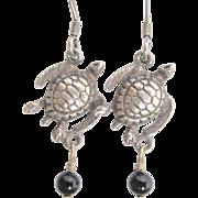 Darling Vintage Sterling Silver Dangle Sea Turtle Earrings With Black Onyx Bead