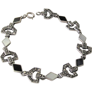 Vintage European Art Deco Sterling Silver Link Bracelet With MOP Black Onyx and Marcasites