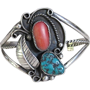 Vintage Sterling Silver Native American Wide Bangle Cuff Bracelet With Turquoise And Pink Coral