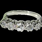 Victorian .80tcw Rose Cut Five Stone Diamond 18K WG Ring