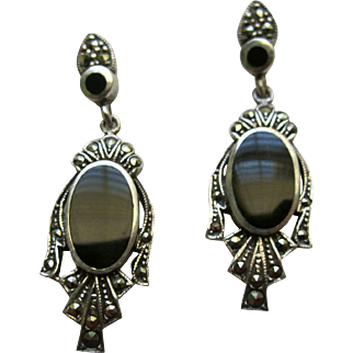 Vintage Art Deco Sterling Silver Drop Down Earrings With Black Onyx And Sparkling Marcasites