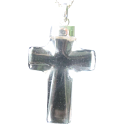 Vintage Sterling Silver Beveled Crystal Quartz Cross Pendant