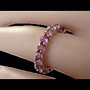 Vintage 10K W.G. Natural 3.40tcw Pink Tourmaline Eternity Ring