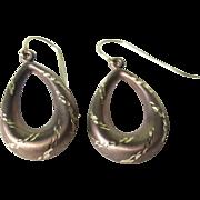 Vintage 14K Two Tone Gold Tear Drop Dangle Earrings