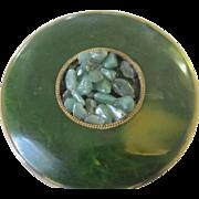 Vintage Marble Green Bakelite Compact With Jadeite by Schildkraut
