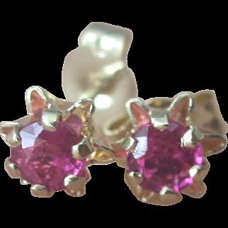 Vintage 14K Y.G. Natural .29tcw Ruby Tulip Earrings