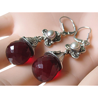 Estate Sterling Silver Hallmarked Ruby Red Crystal Cultured Pearl Dangle Earrings