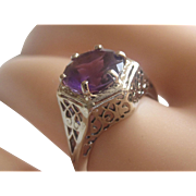 Art Deco 14K White Gold Round 2.30ct Amethyst Lacy Filigree Ring Cir.1920s-30s